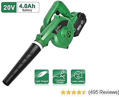 KIMO Cordless Leaf Blower - 20V 4.0 Ah Lithium Battery Powered Lightweight, Compact 2 in 1 Sweeper & Vacuum for Clearing Dust, Leaf & Snow, Car Vacuum, Patio/Deck/Garden Cleaning, Garage Dusting