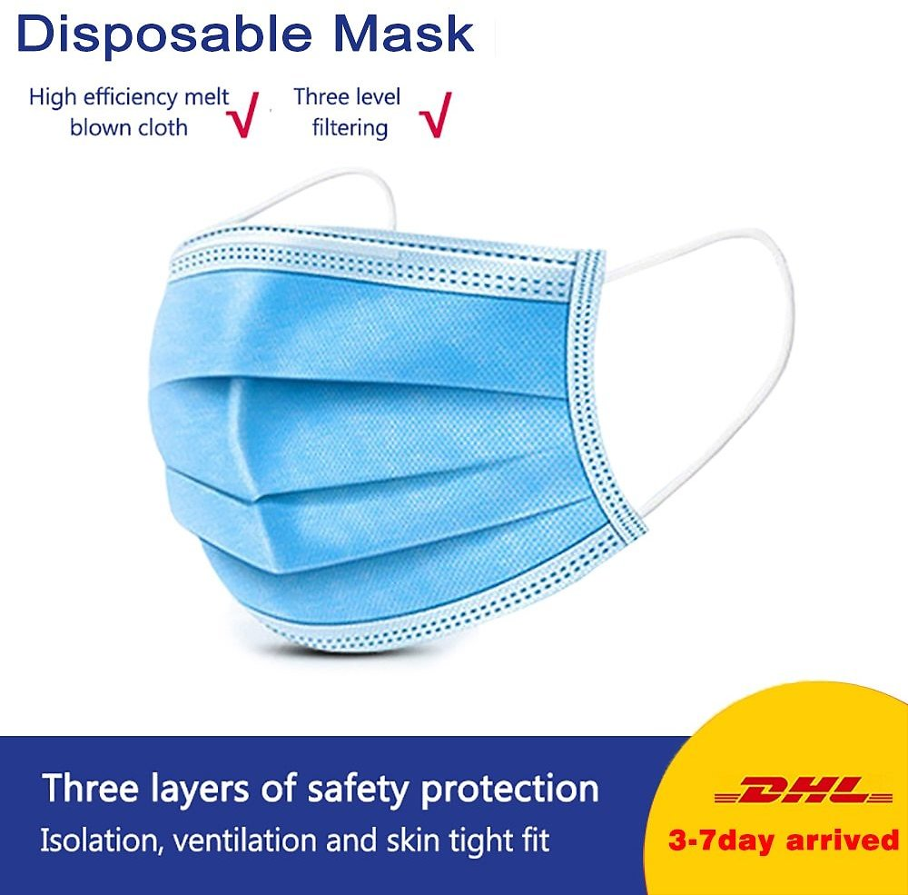 100 Pcs Anti Droplet Disposable Protective Face Mask 3 Layer Non Woven Mouth Masks Dustproof Earloop For Protection Masks