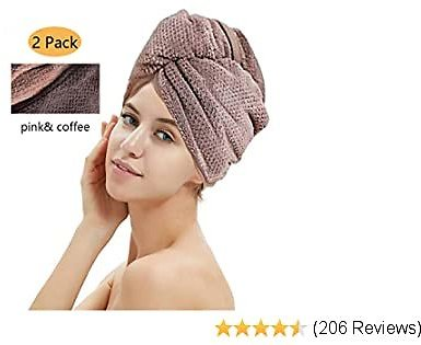 Hair Drying Towels, Hair Wrap Towels, Super Absorbent Microfiber Hair Towel Turban with Button Design to Dry Hair Quickly (2 Pack) (Pink)
