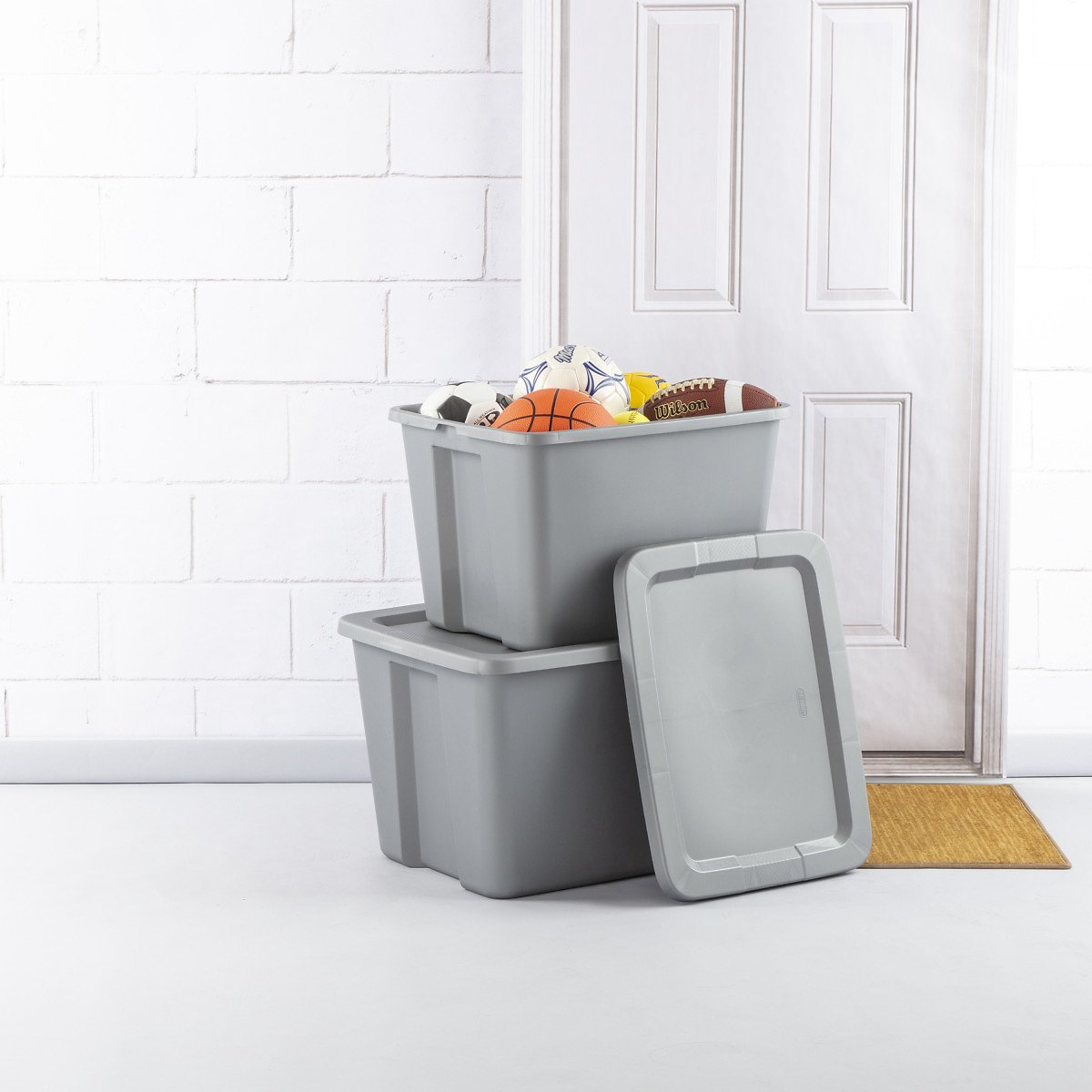 Sterilite 18 Gal. Tote Box Titanium Case of 8
