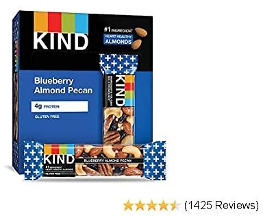 KIND Bars, Blueberry Pecan, Gluten Free, Low Sugar, 1.4 Ounce Bars, 12 Count (Packaging May Vary)