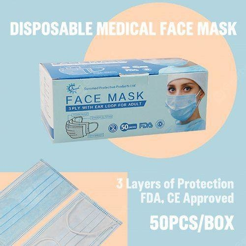 3 Ply Disposable Medical Face Mask High Quality Cotton and Non-woven Filter Cloth FDA CE Approved