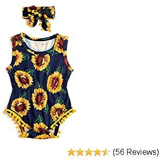 20% OFF 0-24 Months Baby Girls Floral Rompers + Headband