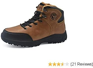 COFACE Mens Hiking Boots Leather Warm Faux Fur Lined Outdoor Boots Backpacking Trekking Trails