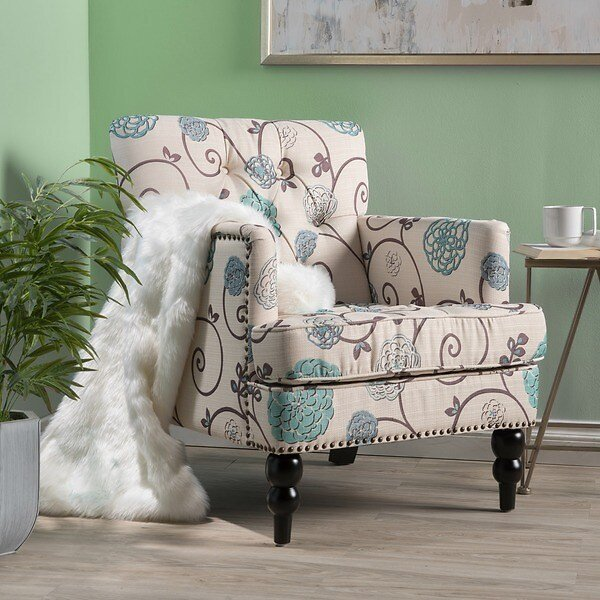 Harrison Floral Fabric Tufted Club Chair By Christopher Knight Home