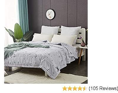 [NEW ARRIVALS!]NATURETY Thin Comforter for Summer,Lightweight Bed Quilt (Grey, Twin)