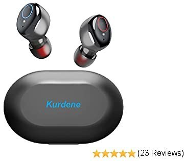 Kurdene Bluetooth Wireless Earbuds,Bluetooth Wireless Headphones with Charging Case Immersive Sounds IPX8 Waterproof Touch Control 30H Cyclic Playtime Built-in Mic In-Ear Mini Earphones for Sports