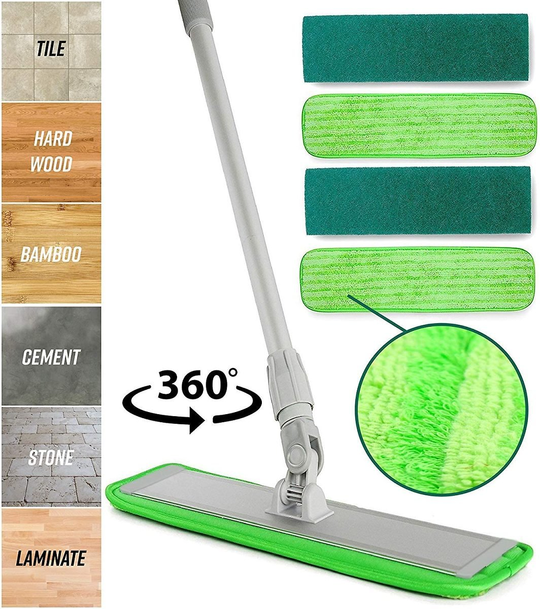 15% OFF | Microfiber Mop Floor Cleaning System - 360 Dry Wet Reusable Dust Mops with Soft Refill Pad