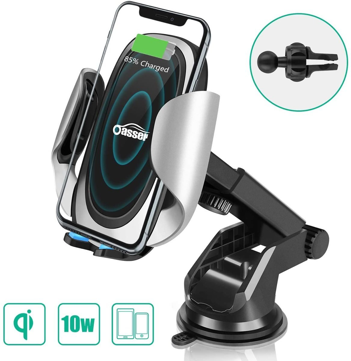 Oasser Wireless Car Charger 10W/7.5W Fast Charging Car Phone Holder Air Vent Dashboard Windshield with Adjustable Coil for IPhon