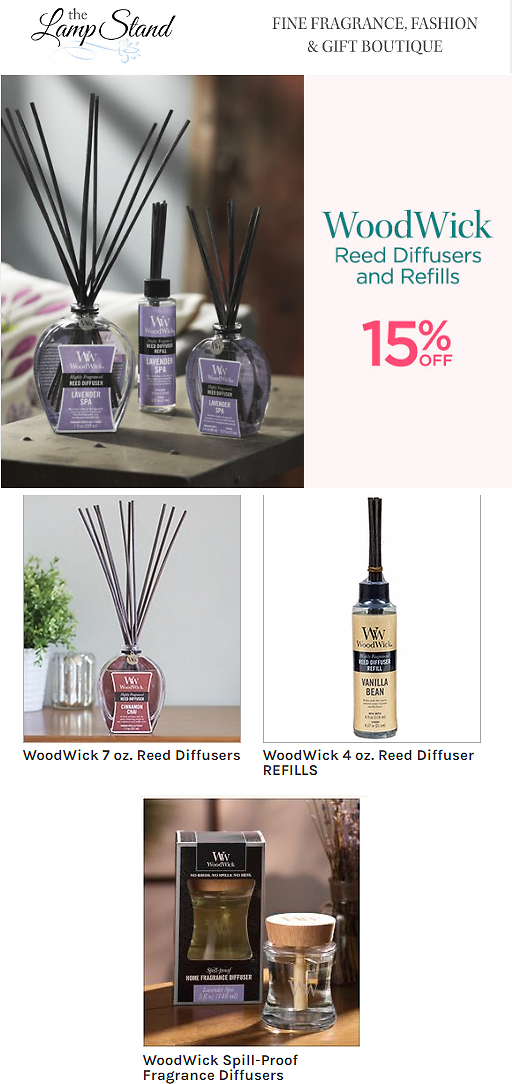15% OFF WoodWick Reed Diffusers and Refills - The Lamp Stand