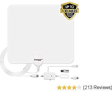 TV Antenna - HD Antenna Support 4K 1080P, 80-130 Miles Range Digital Antenna for HDTV, VHF UHF with Amplifier Signal Booste