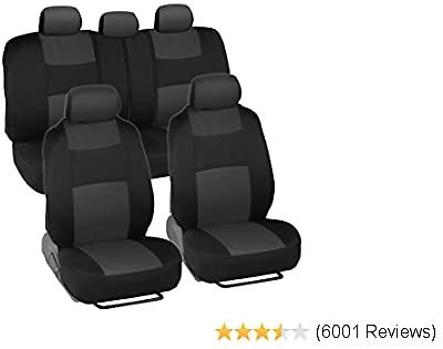 BDK OS309 Charcoal Gray PolyPro Car Seat Covers, Full Set – Front and Rear Split Bench Protection, Easy Install with Two-Tone Accent, Universal Fit for Auto Truck Van SUV