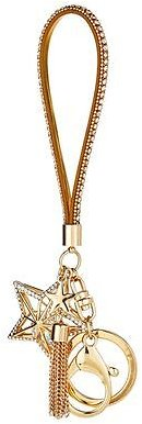 Bejeweled Gold Star Keychain With Strap