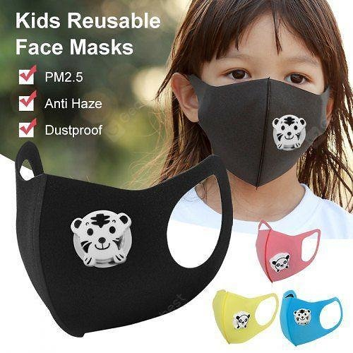 Kids Reusable Face Masks PM2.5 Anti Fog Dustproof Panda Print Breathable Mouth Face Mask With Valve
