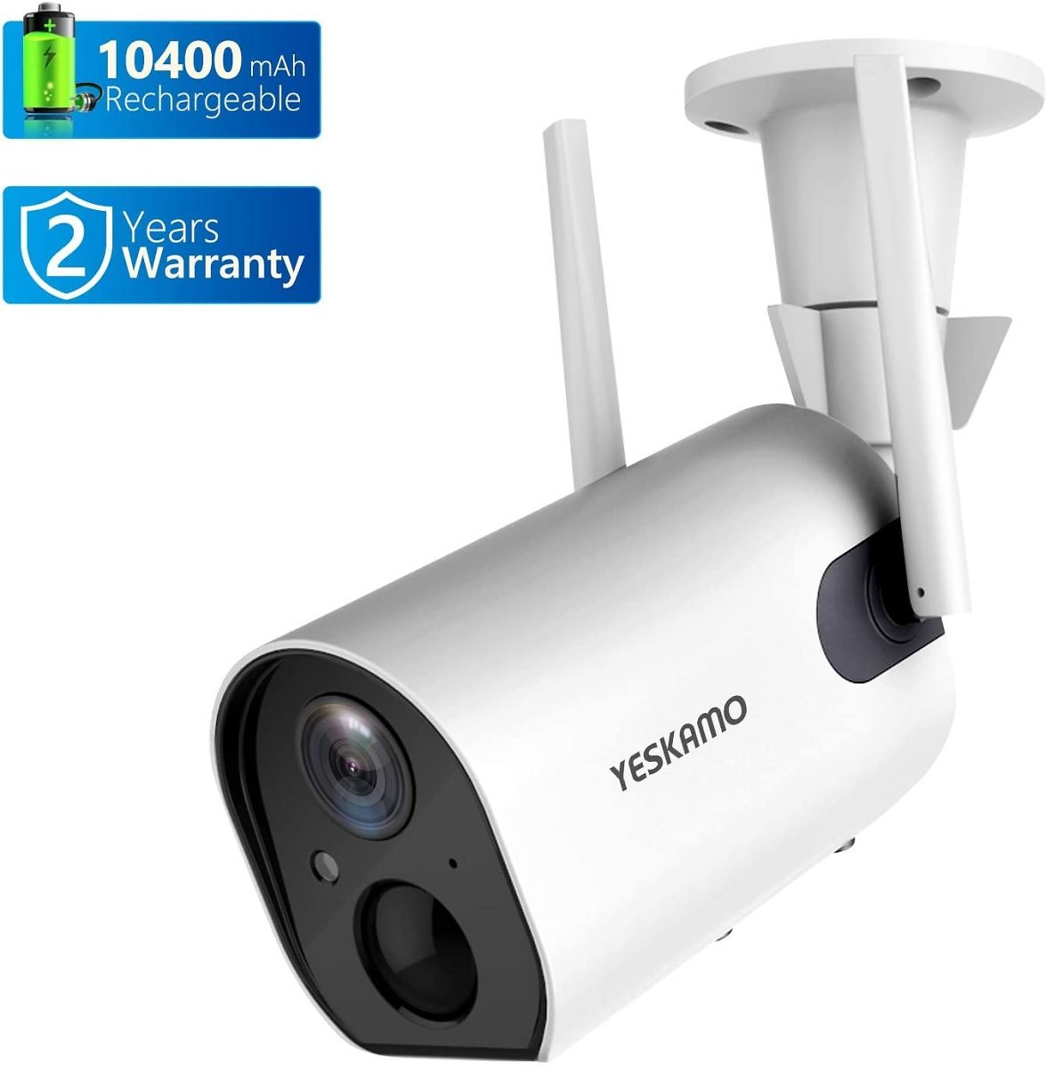 Wireless Outdoor Security Camera, 10400mAh Rechargeable Battery Powered WiFi Camera YESKAMO 1080P Surveillance Camera for Home S
