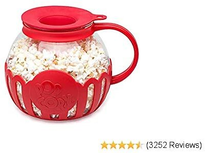 Ecolution Original Microwave Micro-Pop Popcorn Popper Borosilicate Glass, 3-in-1 Silicone Lid, Dishwasher Safe, BPA Free, 3 Quart Family Size, Red