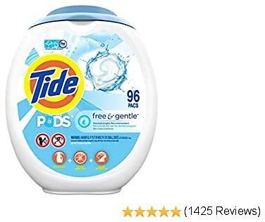 Tide PODS Free and Gentle Laundry Detergent, 96 Count, Unscented and Hypoallergenic for Sensitive Skin, Free and Clear of Dyes