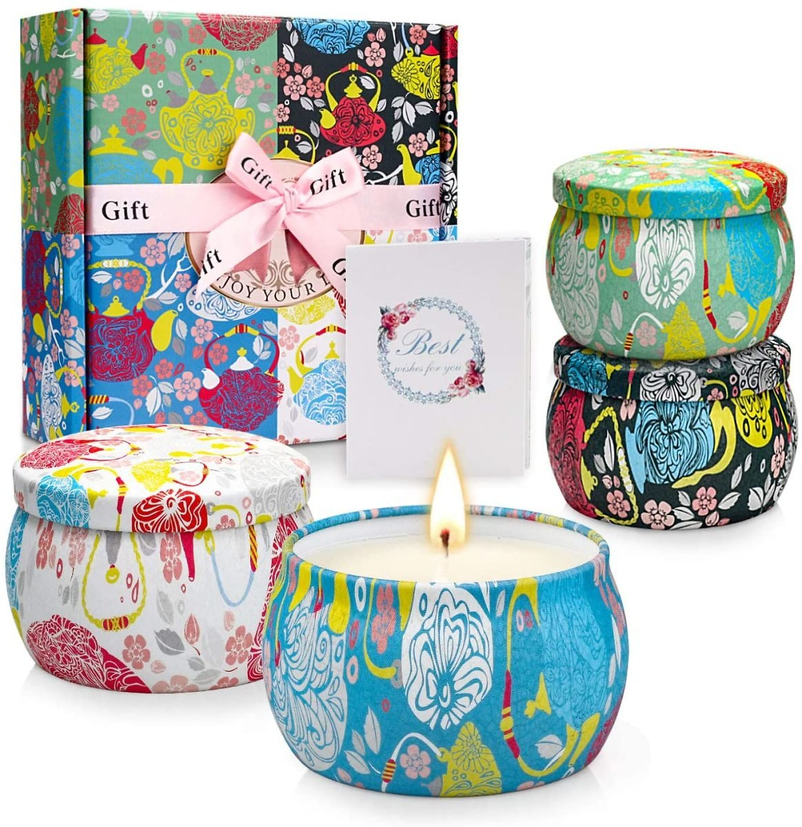 Save 32%   Special Gift: Pack of 4 Scented Candles Gift, Relaxation Aromatherapy Candle Gift Set