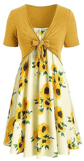 Love This Product Yellow Tie-Front Crop Top & Yellow Sunflower Sleeveless Dress - Women