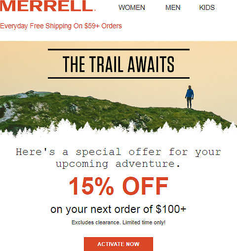 15% OFF ON YOUR NEXT ORDER OVER $100 - Merrell