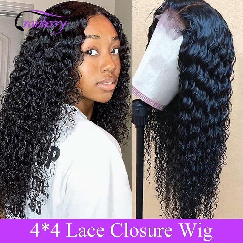 4X4 Closure Wig Deep Wave Wig Peruvian Hair Lace Closure Wig 100% Remy Human Hair Wigs For Black Women 10-26 Inch