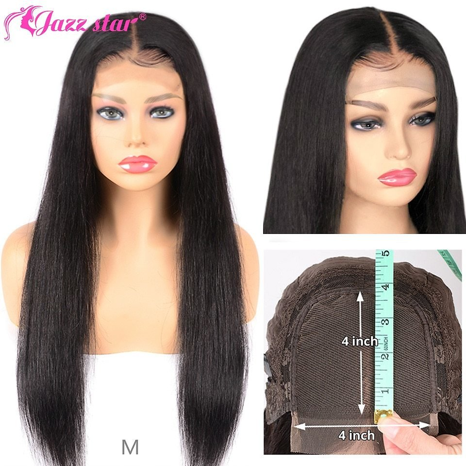 4*4 Lace Closure Wig Straight Human Hair Wigs For Black Women Non-Remy Jazz Star 150% Density Lace Wig with Baby Hair