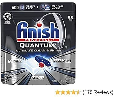 Finish - Quantum - 58ct - Dishwasher Detergent - Powerball - Ultimate Clean & Shine - Dishwashing Tablets - Dish Tabs