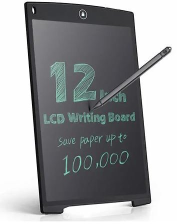 12 Inch LCD Update Multi Function Writing Tablet 3 in 1 Mouse Pad Ruler Drawing Tablet Handwriting Pads - Black