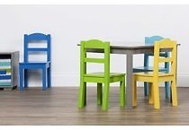 Tot Tutors Elements 5-Piece Wood Kids Table & Chairs Set in Grey/Multi