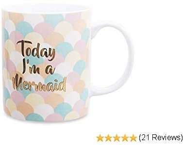 Ceramic Coffee Mug Funny Tea Cups, Cute Gold Polka Dot Mug Large 12oz with Gift Box for Birthday Mother's Day Father's Day Couple or Friends (Colorful Mermaid)