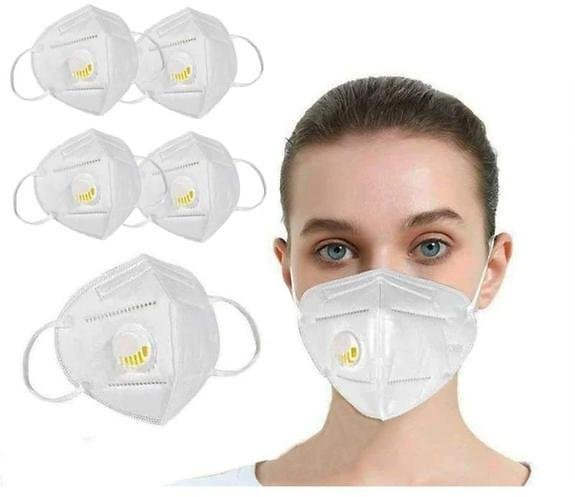 KN95 White Disposable Face Masks with Flow Exhalation Valve - 5 Pack