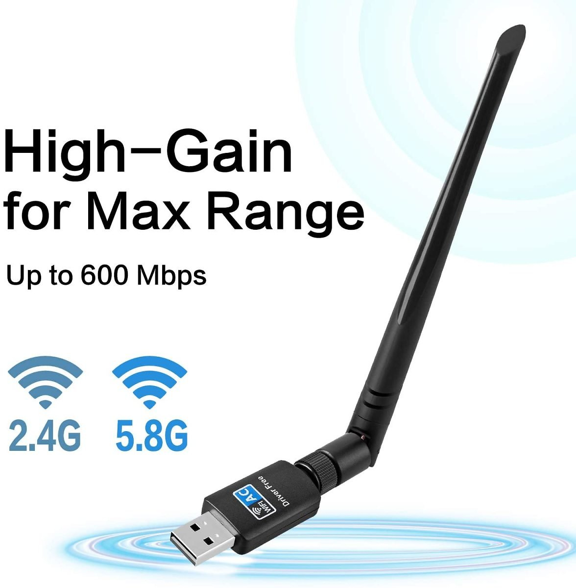 600Mbps,802.11ac USB Wireless Network Adapter with Dual Band 2.4GHz/5.8GHz 5dBi High Gain Antenna for Desktop