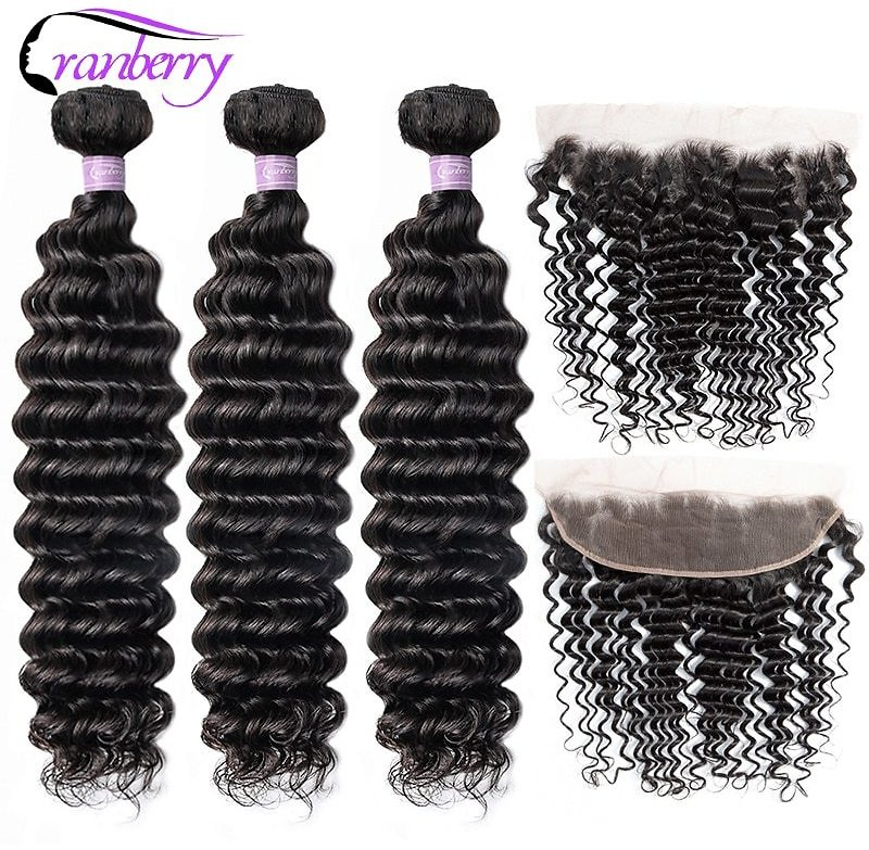 Deep Wave Bundles Frontal Ear To Ear Lace Frontal With Bundles Peruvian Human Hair Bundles With Closure