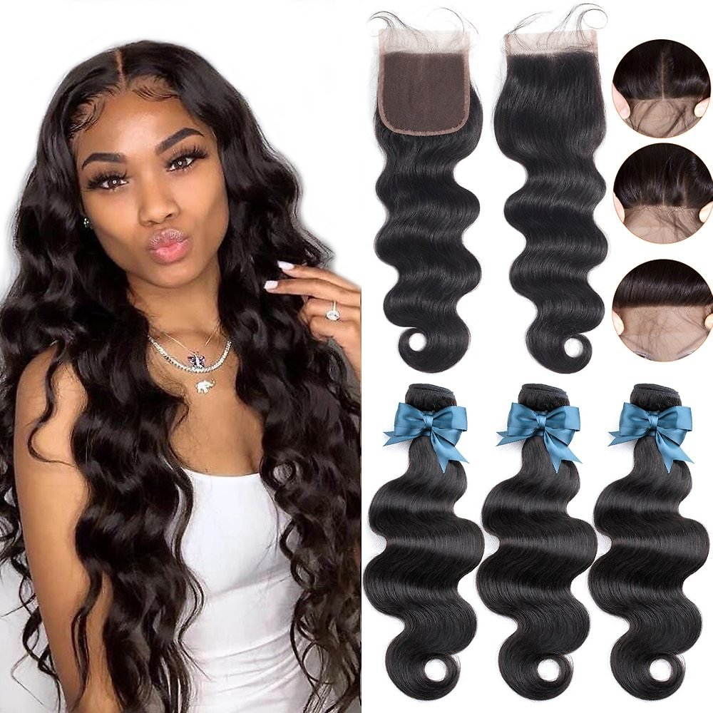 Body Wave 3 Bundles With Closure Human Hair Bundles With Closure Lace Closure Remy Human Hair Extension