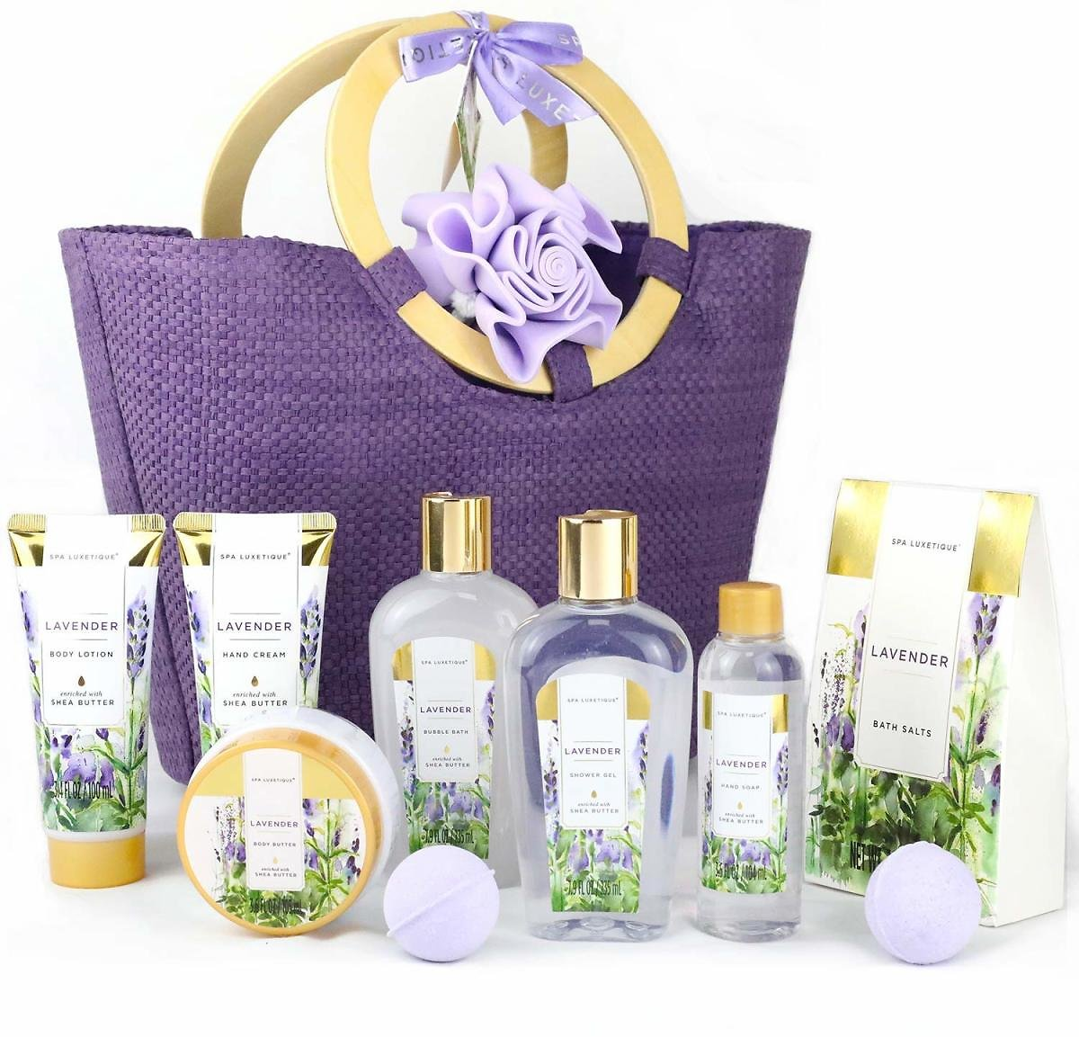 Women's Special: Spa Luxetique Lavender Spa Gift Basket - Luxury 10 Pcs Gift Set