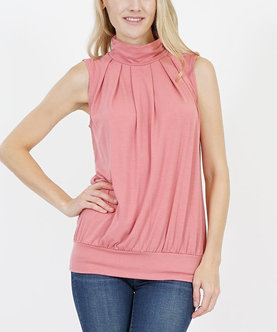 Love This Product Dusty Rose Pleated High-Neck Sleeveless Blouson Top - Women & Plus