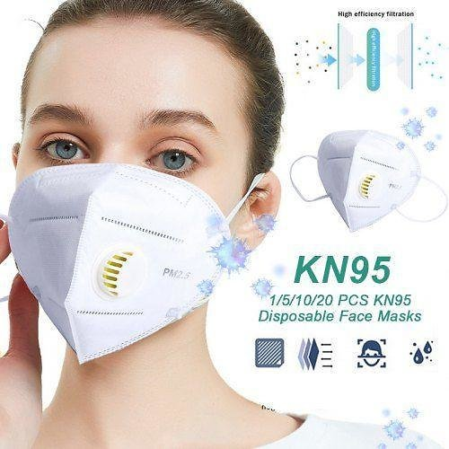 United States 20PCS KN95 Mask Face Masks with Air Valve 5-Layers Anti-PM2.5 Folding Mask 30% Off
