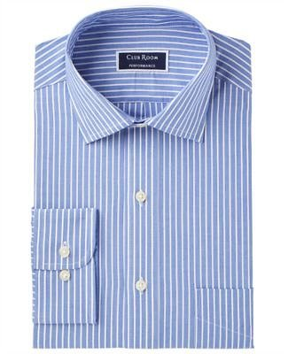 Club Room Men's Slim-Fit Performance Wrinkle-Resistant Striped Dress Shirt, Created for Macy's & Reviews - Dress Shirts - Men