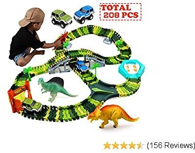 Klobroz Dinosaur Toys-208 Pieces Dinosaur Track Set-Best Gifts for 3 4 5 6 7 8 Year Old Boy, 192 PCS Flexible Tracks Playset & 2 Battery Powered Race Cars, 3 Dinosaurs