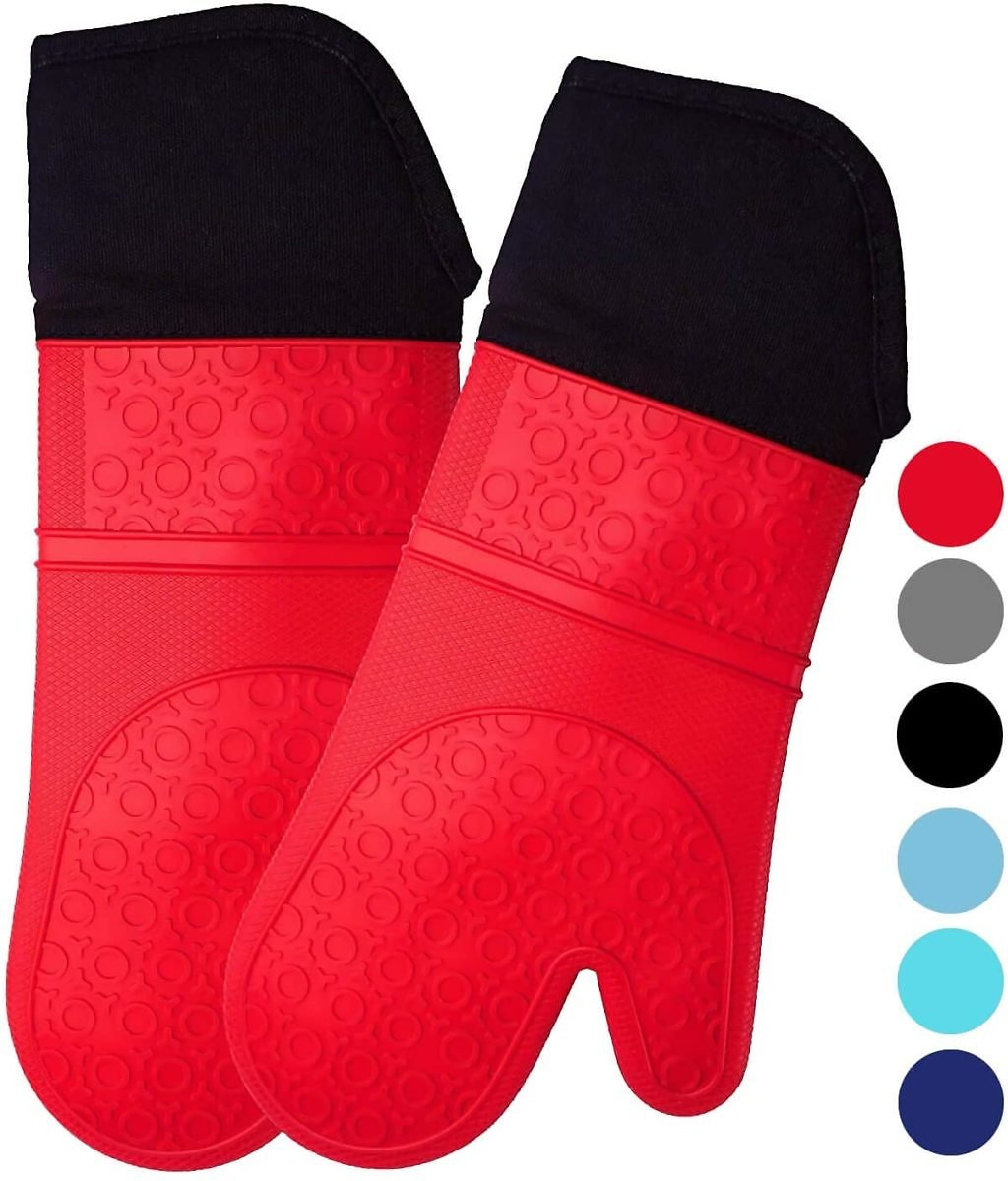 Extra Long Professional Silicone Oven Mitts with Quilted Liner, Heat Resistant Pot Holders, Flexible Oven Gloves, Red