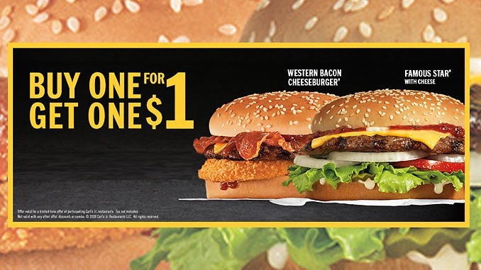 Buy One, Get One For $1 Western Bacon Cheeseburger Or Famous Star With Cheese At Hardee's!