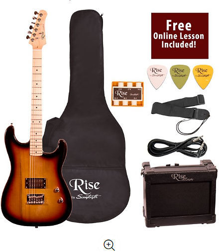 Rise By Sawtooth Right-Handed Sunburst 3/4 Size Beginner's Electric Guitar with Amp, Picks, Cable, Strap, Pitch Pipe, Gig Bag So