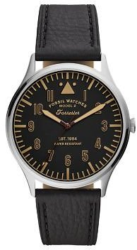 Forrester Three-Hand Black Leather Watch