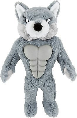 Frisco Muscle Plush Squeaking Wolf Dog Toy