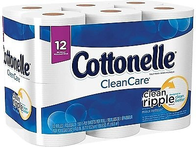 12 Ct- Cottonelle CleanCare 1-Ply Standard Toilet Paper, White, 150 Sheets/Roll