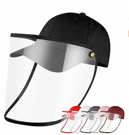 Female Male Protective Hat Cover Foldable Anti-Fog Prevent Droplets Baseball Caps Hat From Spreading Removable PVC Mask Protective Cap. - Navy