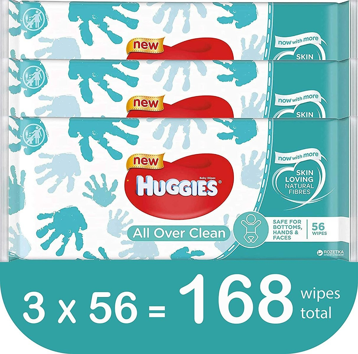 HUGGIES Baby Wipes, All Over Clean, 3 Refills With Resealable Tape Top, 168 CT