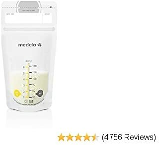 Medela Breast Milk Storage Bags, 50 Count, Ready to Use Breastmilk Bags for Breastfeeding, Self Standing Bag, Space Saving Flat Profile, Hygienically Pre-Sealed, 6 Ounce