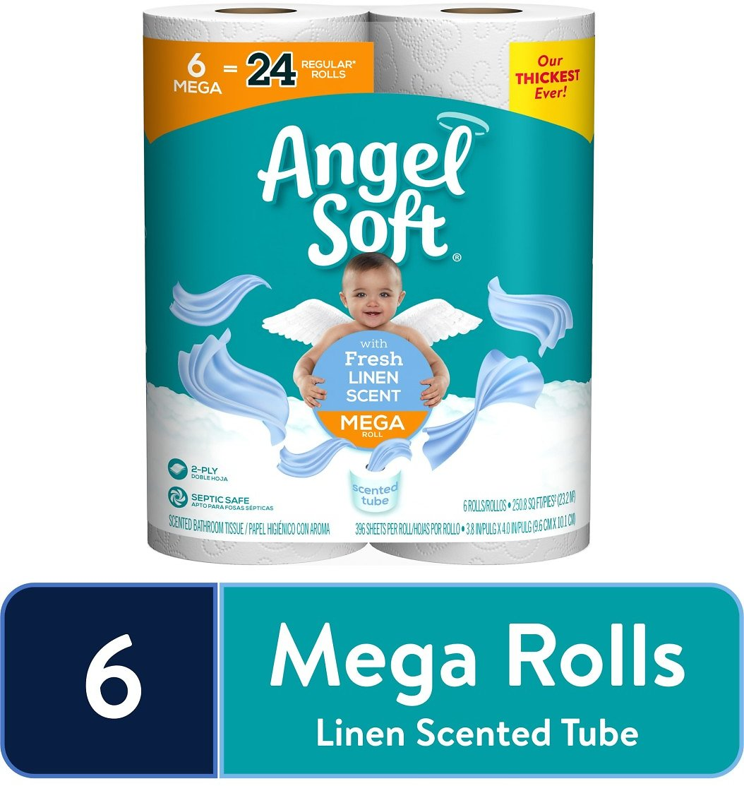 Hurry! 6-Ct Angel Soft Toilet Paper, Linen Scent