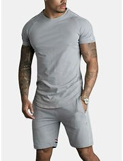 Men Sport Short Sleeve Sewing Stripes Pocket Shorts Solid Color Two Pieces TrackSuit - Grey XS